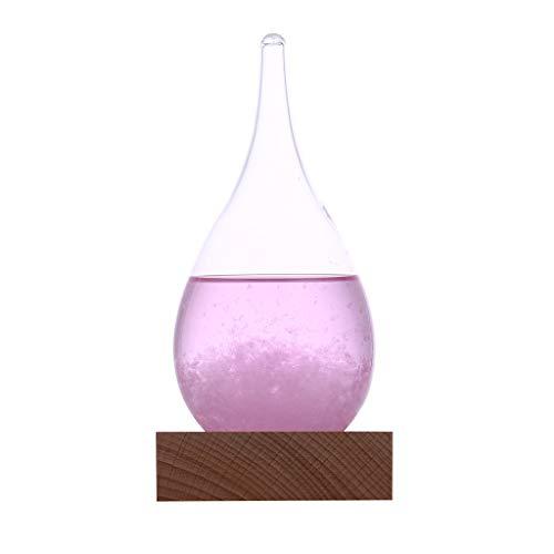 Luccase Wassertropfen Wettervorhersage Glas mit Holz Untergestell 12x6CM Wetter Kristall Flasche Tropfen Wasser Form Glas Dekor Hauptgeschenk Geschenk für Familie oder Freunde (Rosa)
