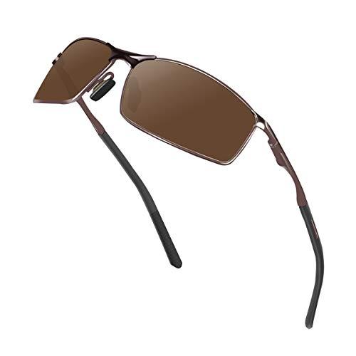 Sunmeet Gafas de Sol Hombre Polarizadas Deportes 100% Protección UV Gafas de sol para Hombre Conducción S1008(Marrón)