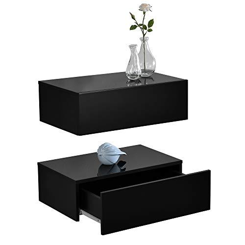 [en.casa]® Wandplank met lade-2 stuks-zwarte hoogglans-mat