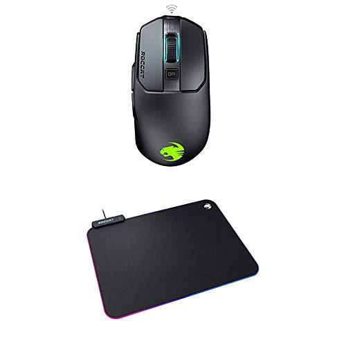 Roccat Kain 200 AIMO RGB Gaming Maus (16.000 DPI Owl-Eye Sensor, Kabellos, Titan Click Technologie) schwarz + Sense AIMO Gaming Mauspad - AIMO LED Beleuchtung, Schwarz