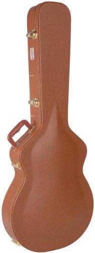Kinsman CSA535 Luxus-Gitarrenkoffer Vintage mit Gewölbtem Deckel für Semiakustik Gitarre braun