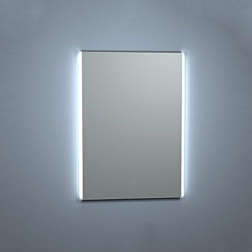 Kristaled Aran Led 60x80 cm Bisel Mate Lateral Espejo de Baño con Retroiluminación, Cristal, Plateado, 60x80x3 cm