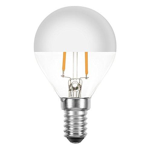 Lampadine LED Filamento goccia 2,2W quasi 25W E14 testa specchio argento filamento Extra Bianco Caldo 2200K, Retro nostalgia
