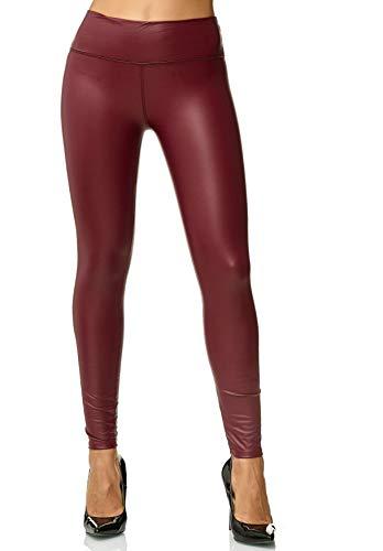 ArizonaShopping Damen Leggings Metallic Leder Optik High Waist Stretch Hose Wet Look D2564, Farben:Rot, Größe:XL/XXL