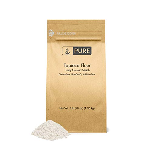 Tapioca Flour (3 lb.) by Pure Ingredients, Also Known As Tapioca Starch, Resealable Eco-Friendly Packaging, Fine White Powder, Gluten-Free, Non-GMO