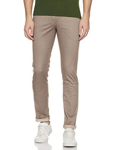 Arrow Sports Men's Slim Fit Casual Trousers (ASZTR2420_Brown_36W x 35L)