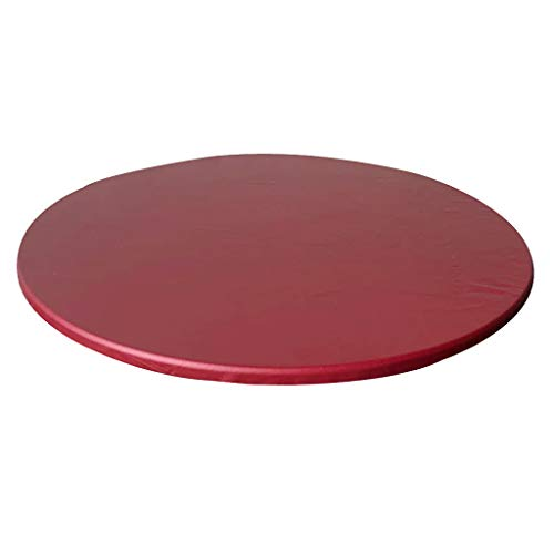 LOVIVER Fitted Table Cover Round Fits Tables from to 44-48inch Diameter - Wine Red