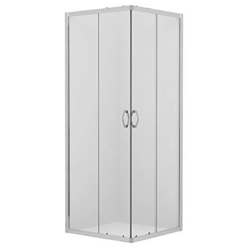 vidaXL Duschabtrennung Eckeinstieg ohne Duschwanne Schiebetür Duschkabine Duschtrennwand Duschwand Dusche Badezimmer Sicherheitsglas 4mm 80x80x185cm
