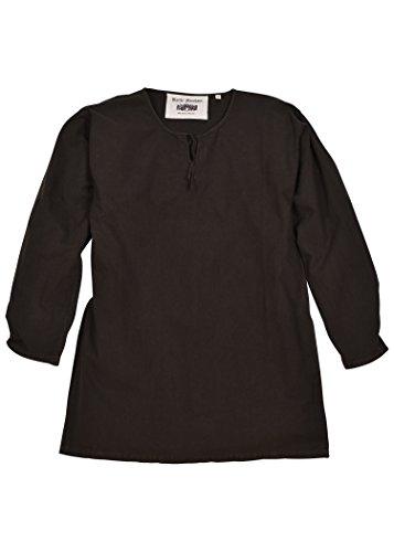 Battle-Merchant Mittelalter Tunika Gunther, Langarm, braun für Herren - Wikinger - LARP - Hemd - Mittelalterhemd Size L