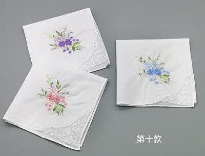 SushiSwap 3pcs Embroidery Flower White Handkerchiefs Ladies Lace Handkerchief Women Cotton Towels Chustki Zakdoek Fazzoletto Mouchoir H09 - See Chart - 354698