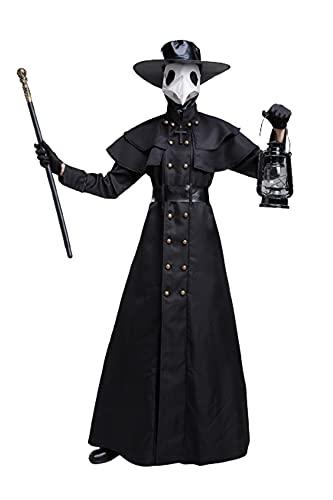 Hcxbb-1 Hombre medieval steampunk plaga doctor cosplay traje largo pico máscara fiesta halloween divertido traje suministros (Color : Noir, Size : S)