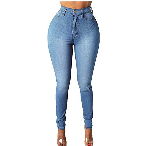 N\P Pantalones vaqueros de cintura alta mujer pantalones denim mujer agujero botón cremallera bolsillo