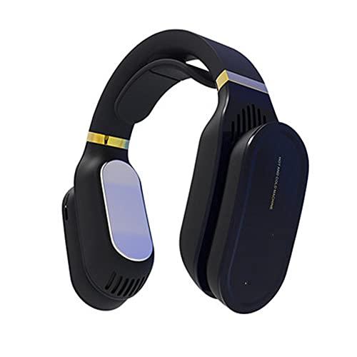 VRQG Mini acondicionador de Aire portátil, Ventilador montado en Cuello, Recargable, Ventilador USB de refrigeración por Ventilador de Poca incidencia, refrigerador de Aire silencioso de Mano,Negro