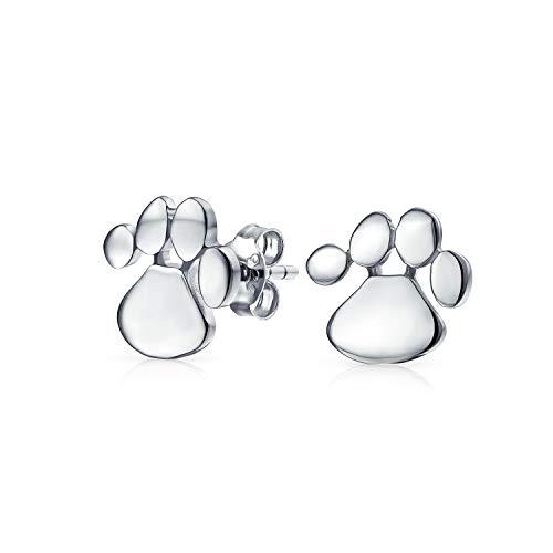 Tiny BFF Dog Cat Puppy Kitten Paw Print Animal Lover Pet Paw Stud Pendientes para mujeres para adolescentes .925 Plata de ley