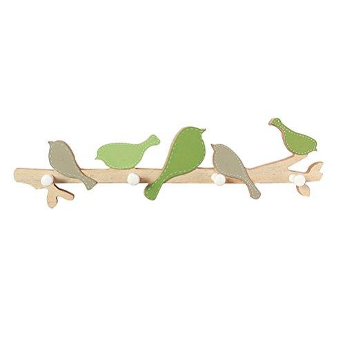 Healifty Holz Hakenleiste Garderobenleiste Kleiderhaken Kindergarderobe Wandhaken mit 4 Haken Vogelform für Küche Schlafzimmer Kinderzimmer Badezimmer(Grün)