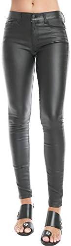 Sneak Peek Mid Rise Shiny Black Coated Skinny Jeans 28 product image