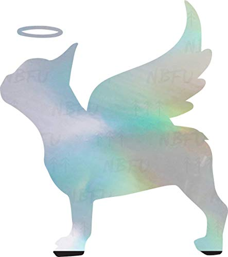 NBFU French Bulldog Frenchie Memorial Frenchie Angel with Angel Wings 2 (Hologram) (Set of 2) Premium Waterproof Vinyl Decal Stickers Laptop Phone Helmet Car Window Bumper Mug Tuber Cup Door Wall