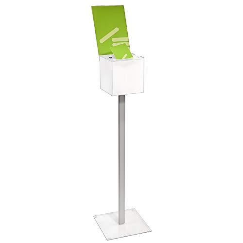 Bodengestell mit abschließbarer Losbox aus Acrylglas in 200x200x200mm und Topschild DIN A4 Hoch - Zeigis® / Spendenbox/Aktionsbox / Gewinnspielbox/transparent / durchsichtig/Acryl / Plexiglas®