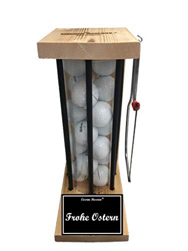 Frohe Ostern - Die Eiserne Reserve ® Black Edition Golfer Geschenk incl. Säge & 20 Golfbälle - Golfergeschenk für Männer & Frauen