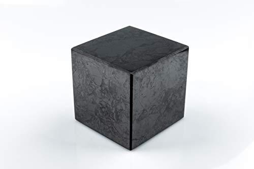 SN NATURSTEIN UG - Cubo Shungit pulido 10 cm | Gema y piedra curativa originaria de Carelia - Protección contra radiación EMF