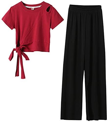 ZRFNFMA Ropa de niñas Camiseta Corta de Manga Corta para niños Pantalones Sueltos de piernas Anchas Sueltas Traje de Verano para niños de Dos Piezas wine-130cm