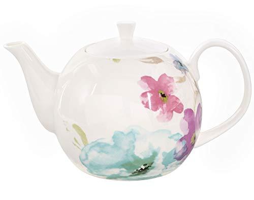 Buchensee Porzellan Kanne 1,5 Liter. Elegante Teekanne/Kaffeekanne aus Fine Bone China mit stilvollem Blumendekor etc.