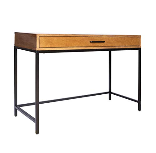Amazon Brand – Rivet Avery Industrial Home Office Writing Desk with Metal Base, 40″W, Chestnut Brown Finish