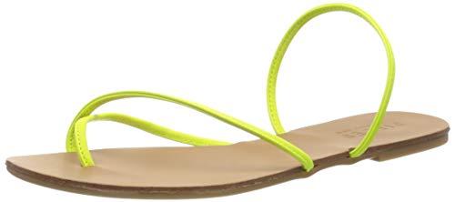 PIECES Damen PSANNIE NEON Leather Flache Sandale, Safety Yellow, 37 EU