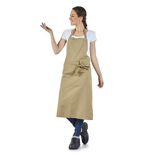 Label Blouse keukenschort, beige, voor privépersonen en professionals