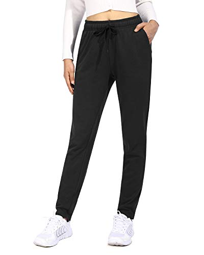 OUGES Women Cotton Sweatpants Open Bottom Athletic Joggers Straight Leg with Pocket Drawstring(Black,L)