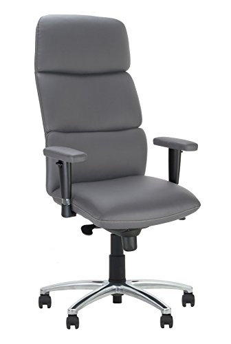 Chefsessel California Lenkstuhl Synchron Ergonomisch geformte Rückenlehne neigbar Sitz Rückenlehne und Rückenlehne verstellbar in 5 Positionen (grau A/verstellbar)