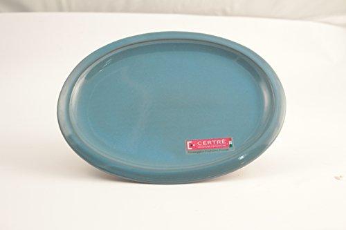 Sottovaso ovale in gres ceramica Art.S6000- cm.33x25x2h.- Colore Azzurro Cielo Smaltato -CERTRE