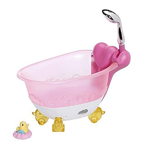 Zapf Creation 831908 BABY born Bath Badewanne mit Licht- und Sound-Effekten und echtem Wasser sowie Badeente, Puppenzubehör für Puppen bis 43 cm