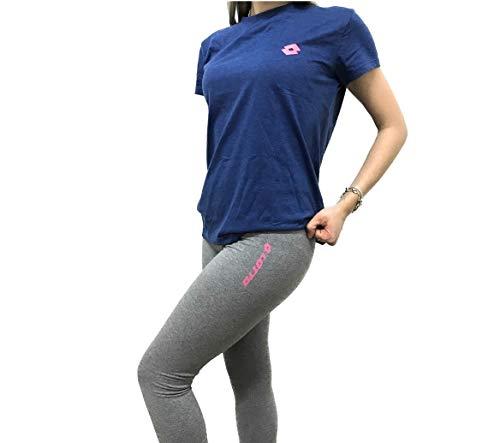 Lotto T Shirt Donna Mezza Manica Estiva Corta, Maglietta Donna per Il Tempo Libero, Palestra, Fitness, Running, Yoga, Pigiama (Blu Melange, XL)