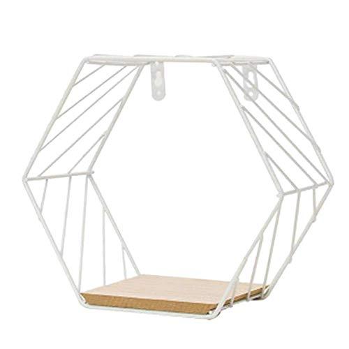 Almabner - Estantes flotantes de estilo nórdico, para colgar en la pared de hierro con rejilla hexagonal de metal, estantería industrial moderna, estante de almacenamiento para salón., 2 blancos