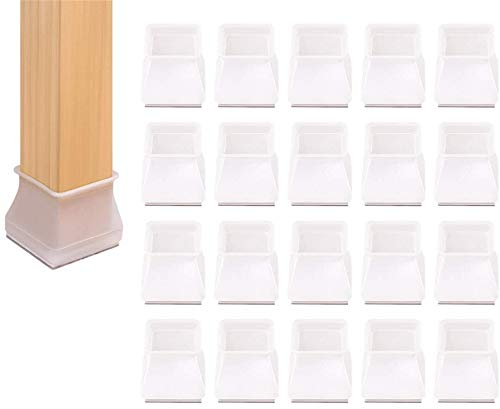 transparent Clear Silicone Table Furniture Leg Covers caps,Chair Leg Covers to Stop Scratching,Chair Leg caps 30mm Round,Chair Leg Floor Protectors Square,Chair Leg caps Non Slip,20pcs (Square)