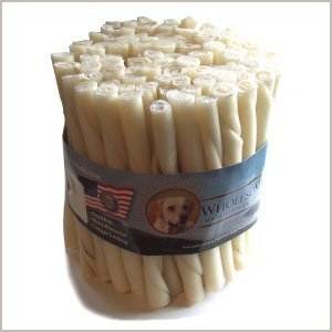 Wholesome Hide Beef Hide Twists - 5 inches long - 1/2 inch across - Economy Package of 100