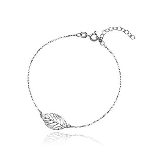 LillyMarie Damen Armband Silber 925 Blatt-Anhänger Längen-verstellbar Satin-Beutel Muttertagsgeschenk