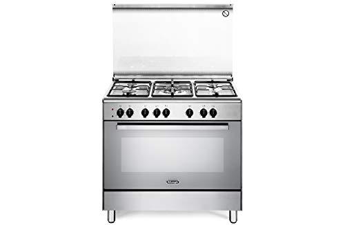 De Longhi DEMX96ED - Cucina a gas con forno elettrico, 5 Fuochi, Dimensioni 90x60 cm, Classe A