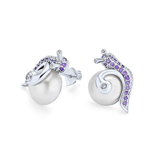 3D Nautisch Lila Lavendel Zirkonia Pflaster Schnecke Weiß Simulierte Perle Ohrstecker Für Frauen Silber Vergoldet Messing