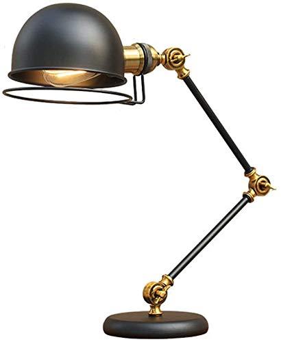 Beleuchtung Industrie-Vintage-Schreibtischlampe Kreative lange Arm Lesetischleuchte Schwarz-Eisen-Lese Helle regulierbarer Lampe für Büro Schlafzimmer Study Wohn E27