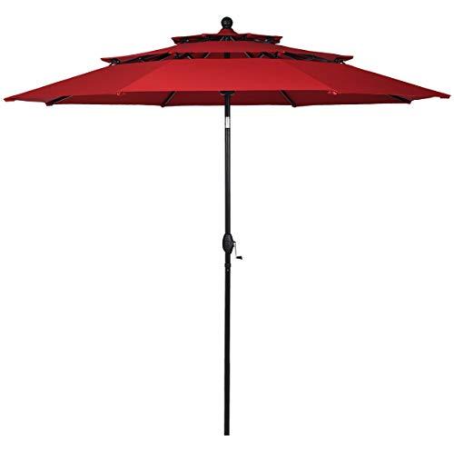 Tangkula 10 Ft 3 Tier Patio Umbrella, Outdoor Umbrella W/Double Vented, Market Table Tilt Umbrella with Crank, Outdoor Aluminum Umbrella for Market, Backyard, Pool, Garden (Burgundy)