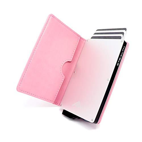 STEALTH WALLET Minimalista Portatarjetas RFID - Carteras de Tarjetas de Crédito Metálicas Delgadas y Livianas con Protección de Bloque NFC (Plata con Cuero Rosa)