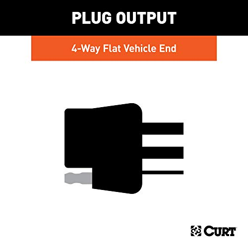 CURT 56130 Non-Powered 3-to-2-Wire Splice-in Trailer Tail Light Converter, 4-Pin Wiring Harness