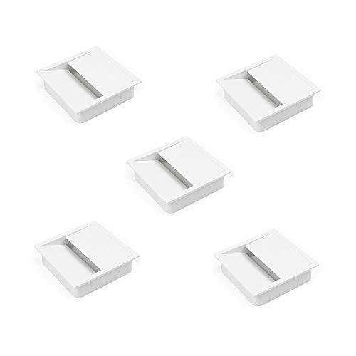 Emuca - Tapa pasacables cuadrada 85x85mm para encastrar en escritorio/mesa, organizador de cables para mueble, plástico blanco, Lote de 5