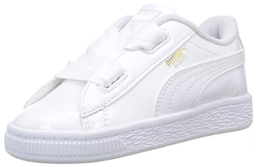 Puma Basket Heart Patent Inf, Scarpe da Ginnastica Basse Bimba, Bianco White White 02, 24 EU