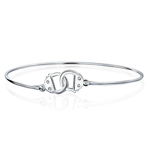 Bling Jewelry Minimalistische Partner In Verbrechen Handschellen Arbeiten Schloss Armband Dünne Armreif Für Frauen Für Teen Cz Akzent 925 Sterling Silber