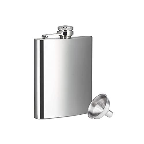 FEMONGY petacas de alcohol, Petacas, petaca acero inoxidable, Hecho de acero inoxidable, resistente, Sanitario y conveniente, se puede usar para guardar whisky (180ml, 93mm x 22mm x 119mm, 1 pieza)