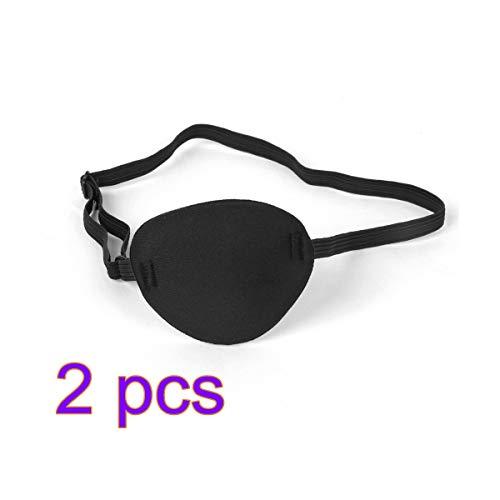 TOYANDONA 2Pcs Máscara de Ojo Pirata con Parche en el Ojo para la ambliopía Ojo vago para Adulto (Negro)