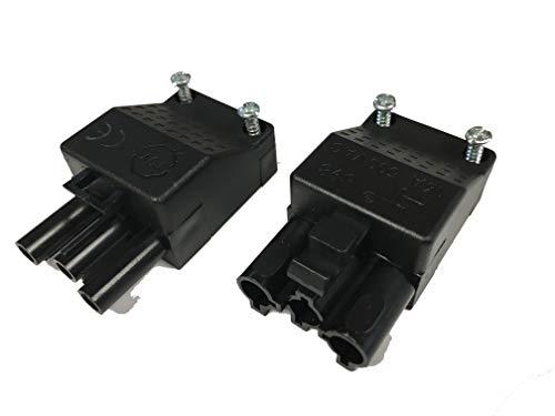 Steckverbindung (Stecker und Gegenstück/Anschluß) für steckbare Gebäudeinstallation, ST18/3S C1 ZEV SW RD, 3-polig, unmontiert, inkl. Zugentlastung und Verriegelung